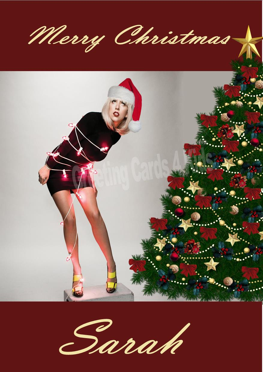 Personalised Lady Gaga Christmas Card 1