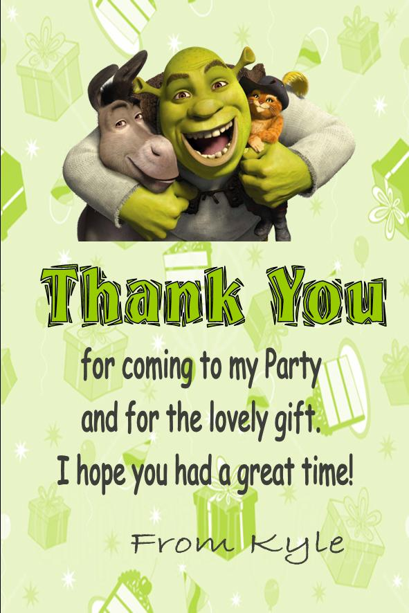 Personalised Shrek Thank You Cards