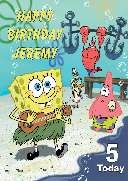 Personalised Spongebob Birthday Card
