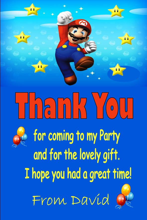 Personalised Super Mario Thank You Cards Design 2