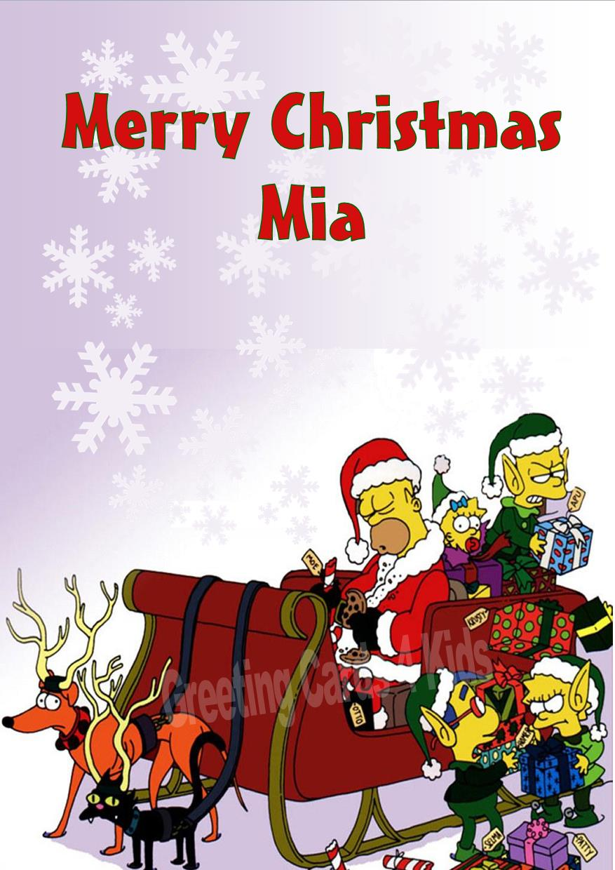 Personalised The Simpsons Christmas Card Design 1