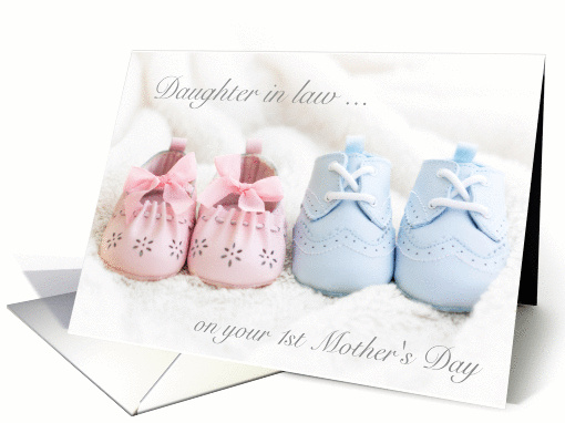 Daughter In Law 1st Mothers Day Twins Blue Pink Booties Card