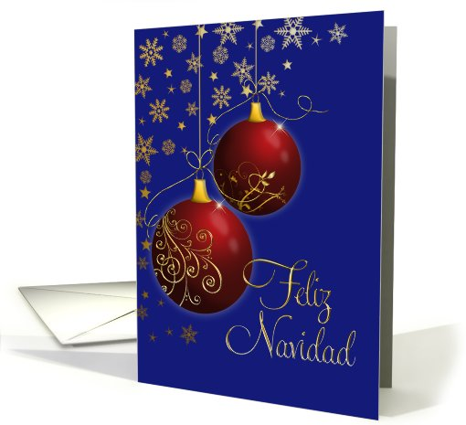 Merry Christmas Spanish Red And Gold Ornaments Card 704919