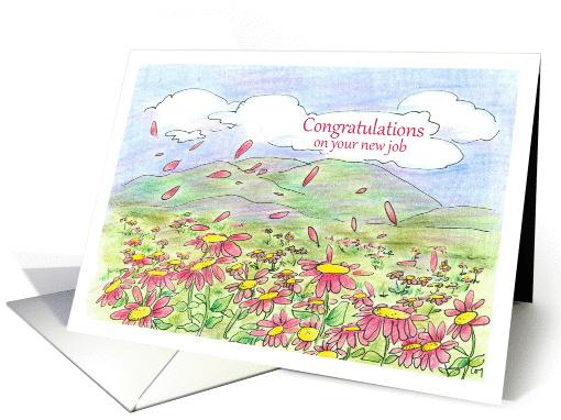 job congratulations pink daisy