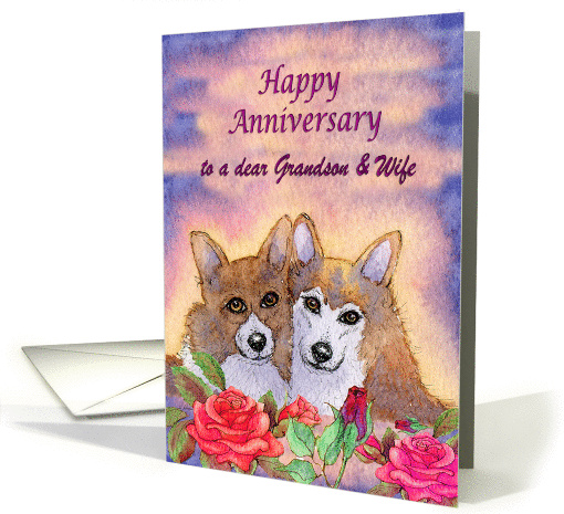 Happy Anniversary Grandson Amp Wife Dog Card Married