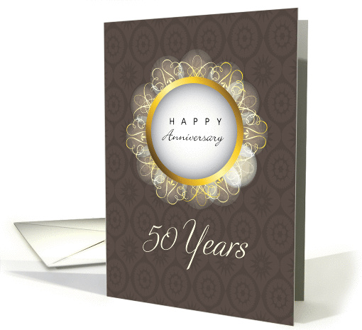50th Wedding Anniversary Brown And Gold Religious Card