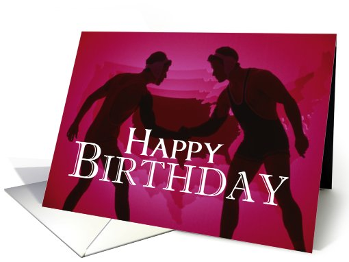 Wrestlers Happy Birthday Red Silhouettes card 632694