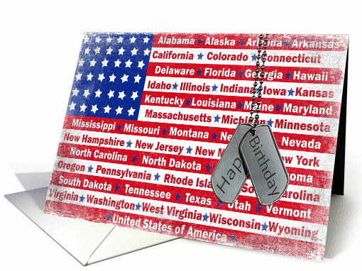Military Patriotic Birthday With Dog Tags Card 679364