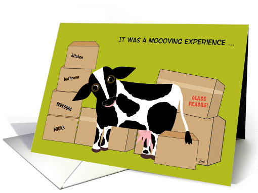 Thank You Moving Help Help Move Cow Funny Card 553988