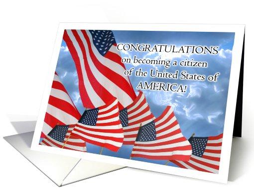 Congratulations US Citizenship Parade of Flags card 659193
