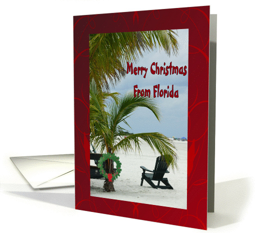 Merry Christmas From Florida Palm Tree With Wreath On