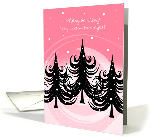 Christmas Hair Stylist Winter Trees On Pink Card 880842