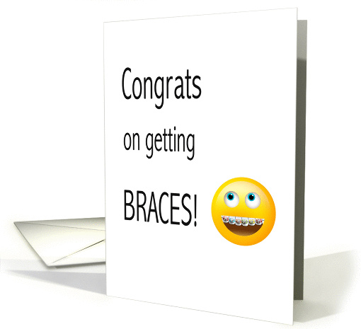Getting Braces Emoji Congratulations Text Message Card