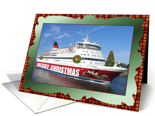 Merry Christmas Cruise Line Decorated Ship Card 882642