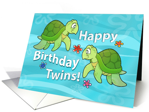 Happy Birthday Twins Two Sea Turtles Card 467701