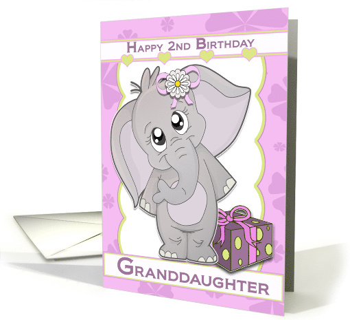 Happy 2nd Birthday Granddaughter Elephant Card 918242