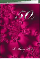 Silky Flowers 50th Birthday Invitation Card