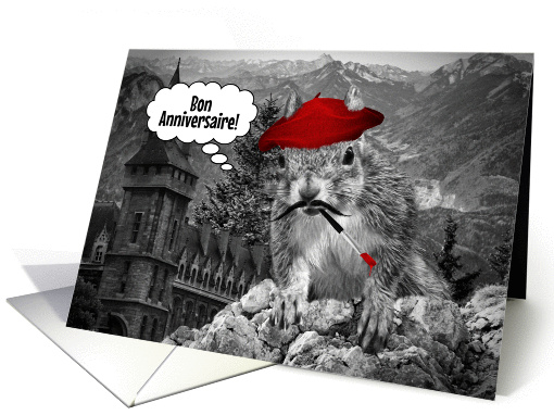 French Language Birthday Funny French Squirrel Painter card 1068873