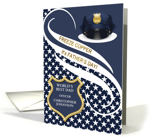 Police Officer Fathers Day Best Dad In The World Card