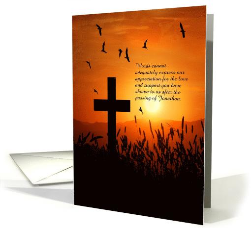 Custom Thank You Funeral Service Sunset Cross Card 968743
