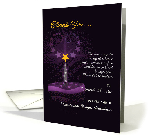 Custom Memorial Donation Thank You Purple Heart Card 977335