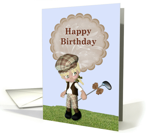 Happy Birthday Young Girl Golf Theme Card 1046301