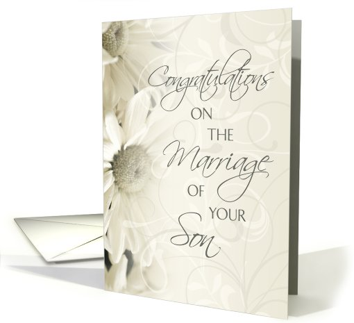 Congratulations On Marriage Of Son Card White Flowers