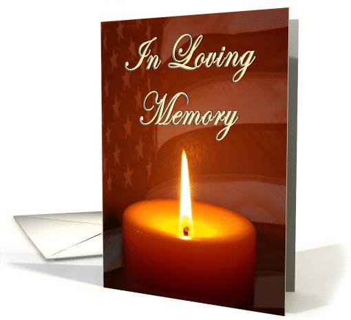 In loving memory lit candle and waving flag card 1119810