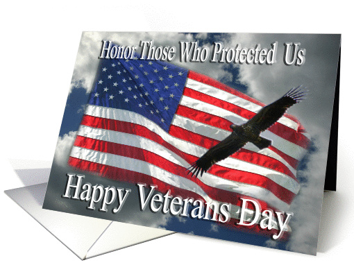 Happy Veterans Day Flag And Flying Eagle Card 459346