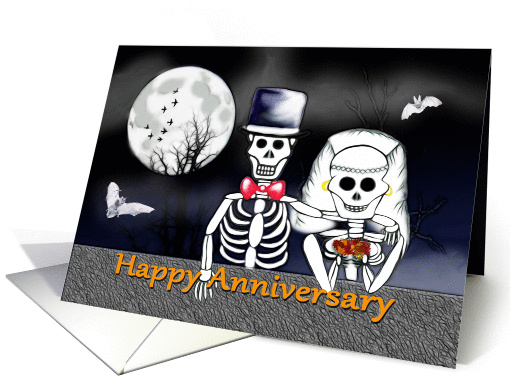 Happy Anniversary On Halloween Skeleton Bride And Groom