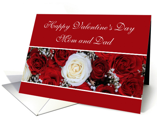 Mom Amp Dad Happy Valentines Day Red And White Roses Card