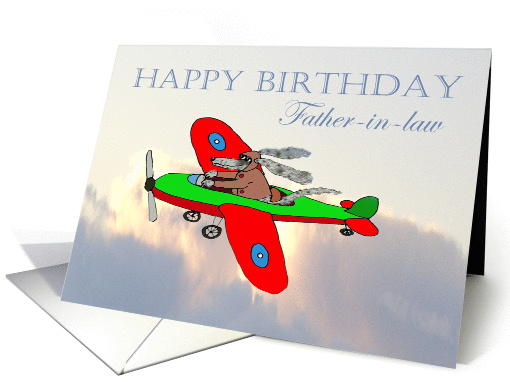 Happy Birthday Father In Law Flying Dog Pilot Humor Card