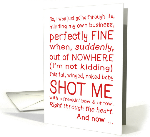 Funny Valentine's Day Card Cupid Shot Me Typography Love