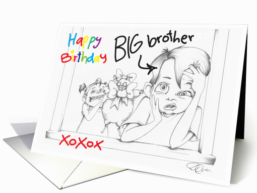 Happy Birthday big Brother from little Sister card (789553)