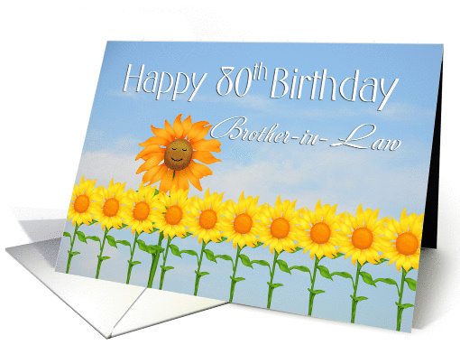 Brother In Law 80th Birthday Sunflowers Card 1272656
