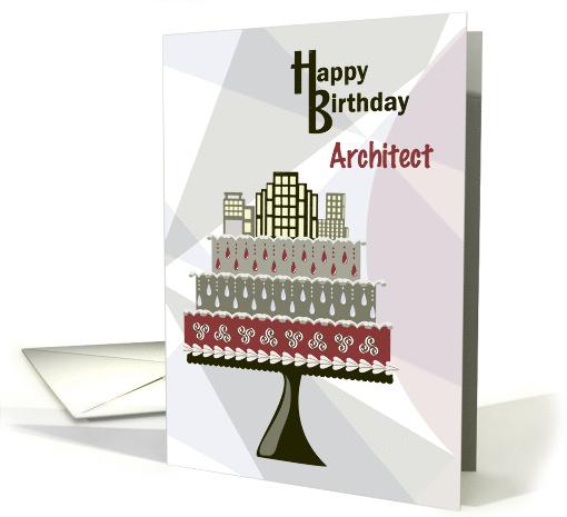 Skyscrapers On Cake Architect Happy Birthday Card 1290282