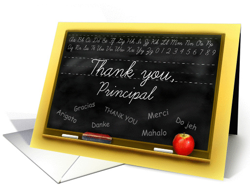 Thank You School Principal Chalkboard with Many Thanks