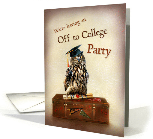 Off To College Party Invitation Owl With Graduation Cap