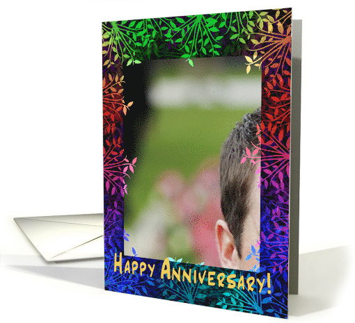 Happy Anniversary Colorful Photo Frame Card 855119