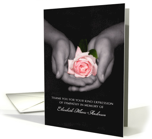 Personalized Sympathy Thank You Pink Rose In Hands With