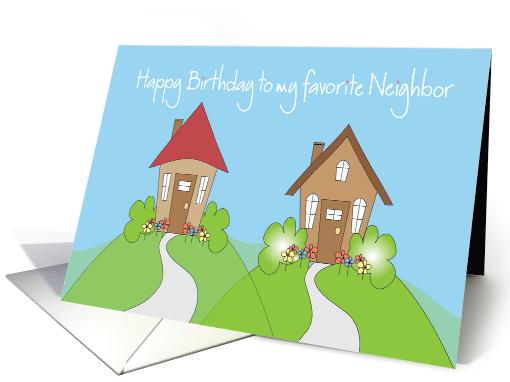 Happy Birthday For Neighbor Cute Houses On Hilltop Card