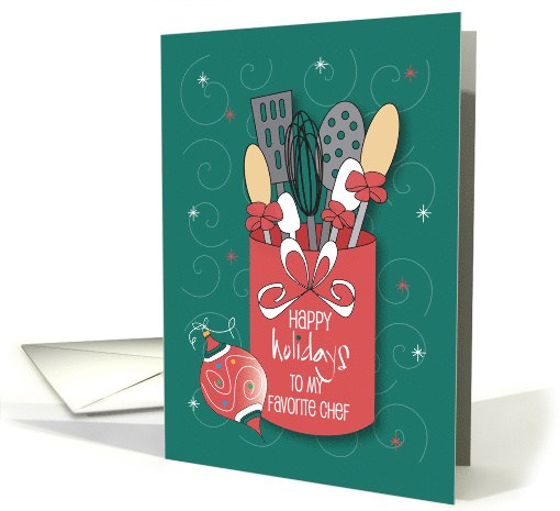 Christmas For Chef Utensil Jar With Cooking Utensils Card