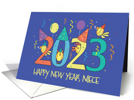 New Years 2019 For Niece Birds Celebrating With Party Hats Card