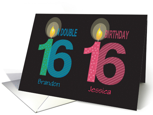 Birthday For 16 Year Old Twins Boy And Girl Custom Names Card