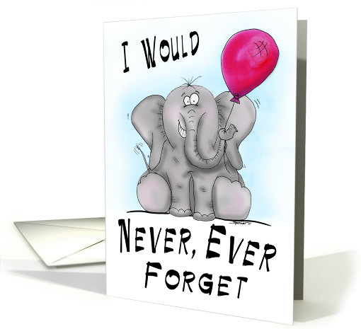 Never Forget Cartoon Elephant Birthday Card 1311742