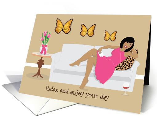 Happy Birthday Beautiful Black Woman Relaxing On A Sofa