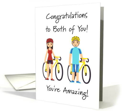 Congratulations To Both Of You Male And Female Cyclists Card