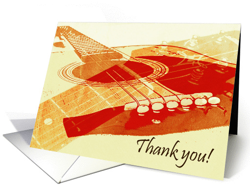 Acoustic Guitar Collage Thank You Card 1063053