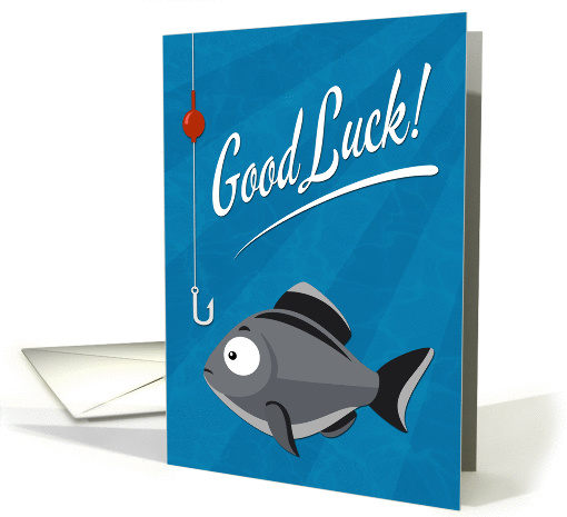 Good Luck Fishing with Cartoon Fish and Hook card 1412764