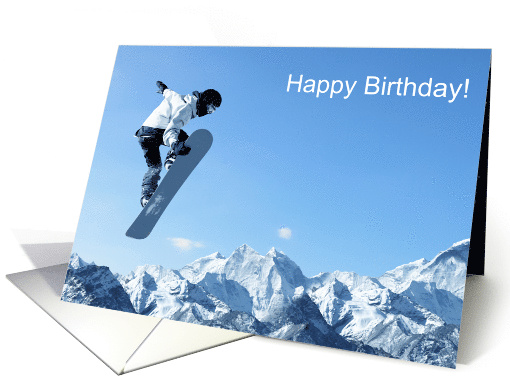 Happy Birthday For Him Masculine Snowboarder Catching